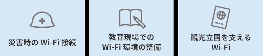 災害時のWi-fi接続 教育現場でのWi-fi環境の設備 観光立国を支えるWi-fi